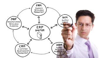 businessman writing a marketing erp diagram on the whiteboard