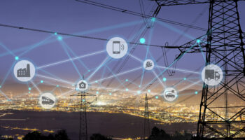 High power electricity poles in urban area connected to smart grid. Energy supply, distribution of energy, transmitting energy, energy transmission, high voltage supply concept photo, smart grid, smart home